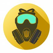 foto of respiration  - Flat icon of gas mask respirator - JPG
