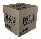 picture of fragile  - 3D Cardboard box with fragile text and icons - JPG