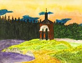 picture of chapels  - Hand painted picture watercolours landscape with chapel on bank of lake St - JPG