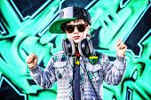 image of 7-year-old  - Trendy 7 year old boy on the street - JPG