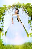 pic of marriage decoration  - Beautiful elegant asian bride stands under the wedding arch - JPG
