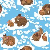 stock photo of mammoth  - Cartoon pattern with mammoths on the ice - JPG