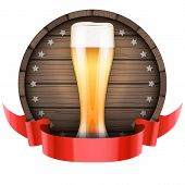 stock photo of keg  - Label Beer barrel keg with beer glass and ribbon - JPG