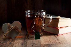 foto of mug shot  - Tea black classic a glass mug - JPG