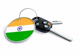 foto of indian flag  - Car keys with Indian flag as keyring - JPG