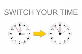 stock photo of time-saving  - Illustration of two watches for change daylight saving time and text SWITCH YOUR TIME - JPG