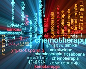 stock photo of chemotherapy  - Background concept wordcloud multilanguage international many language illustration of chemotherapy glowing light - JPG