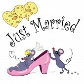 stock photo of fancy mouse  - The comic newly married couple of mice - JPG