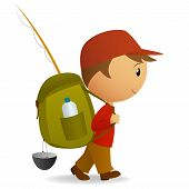 Cartoon Traveller Man With Big Backpack