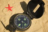 Compass And Red Star On Sand
