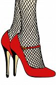 stock photo of fetish fishnet stockings  - A woman in fishnet stockings and red shoes - JPG