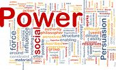 Background concept wordcloud illustration of power