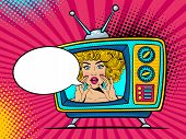 Retro Tv Set With Sexy Surprised Blonde Woman With Wide Open Eyes And Mouth And Rising Hands Screami poster