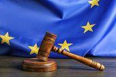 Judge gavel on European Union flag background poster