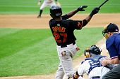 Rochester Red Wings' Denard Span (No. 27) swings at a pitch