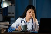 Unhappy Doctor With Headache Stressed Holding Coffee poster