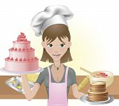 Young Woman Baking A Cakes And Cookies