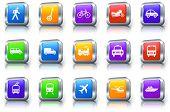Transportation Icon on Square Button with Metallic Rim Original Illustration