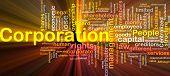 Ilustração de wordcloud de conceito de fundo de luz brilhante de corporação