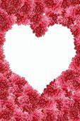 peach flower frame in form heart