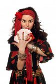 Portrait Of Gypsy Woman With Cards
