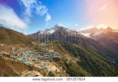 View Of Namche Bazar And