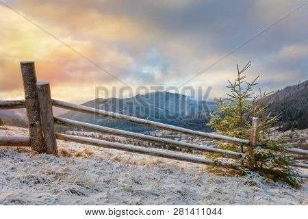 Winter morning in snowy Mountains