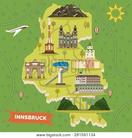 Retro Map Of Innsbruck Austria