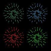 Vintage Sunburst Explosion Handdrawn Design Element Fireworks Green, Red, Blue Rays poster