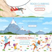 Mountain Climbing Pictures. Rope Carabiner Helmet Rockie Hills People Extreme Sport Vector Banners T poster