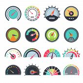 Level Measure Symbols. Speedometer Guage Indication Fuel Vector Infographic Symbols Collection. Spee poster