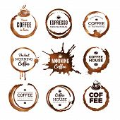 Coffee Rings Labels. Badges Design With Circles From Tea Or Coffee Espresso Mocha Cup Vector Templat poster