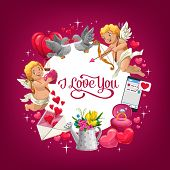 Valentines Day I Love You Vector Greeting Card With Romantic Holiday Gifts. Red Hearts, Bouquet Of F poster