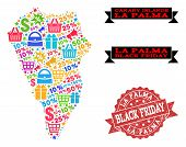 Black Friday Combination Of Mosaic Map Of La Palma Island And Scratched Seal. Vector Red Seal With S poster