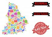 Black Friday Combination Of Mosaic Map Of Sverdlovsk Region And Scratched Seal. Vector Red Seal With poster