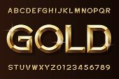 Gold Alphabet Font. 3d Beveled Gold Effect Letters And Numbers. Stock Vector Typescript For Your Des poster