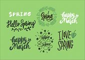 Vector Illustration Of Spring Lettering Isolated Big Set With Quotes. Lettering Sign - Hello Spring, poster