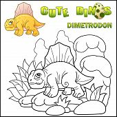 Cute Cartoon Prehistoric Dinosaur Dimetrodon, Coloring Book, Funny Illustration poster