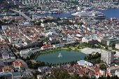 View Of Bergen In Norway From The Top Of Mount Floyen.