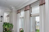 Curtains In The Interior, Curtain Interior Decoration In Living Room poster