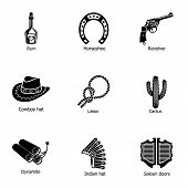 Cowboy Land Icons Set. Simple Set Of 9 Cowboy Land Icons For Web Isolated On White Background poster