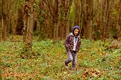 Every Day Is A Journey. Little Boy Walk In Woods. Little Boy Enjoy Autumn Day. Childrens Leisure Act poster