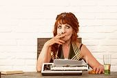 Experienced And Skilled. Senior Woman Type On Retro Typewriter. Journalist Work In Vintage Office. O poster