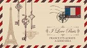 Vector Envelope Or Postcard In Retro Style With Eiffel Tower And Old Keys, Postmark In Form Of Frenc poster