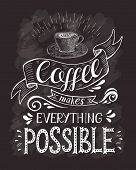 Coffee banner with quote on the chalk board. Coffee makes everything possible . Hand-drawn lettering poster