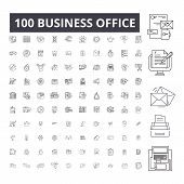 Business Office Editable Line Icons, 100 Vector Set, Collection. Business Office Black Outline Illus poster