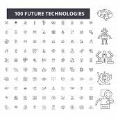 Future Technologies Editable Line Icons, 100 Vector Set, Collection. Future Technologies Black Outli poster