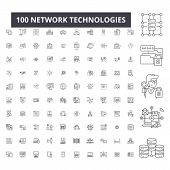 Network Technologies Editable Line Icons, 100 Vector Set, Collection. Network Technologies Black Out poster