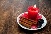 Aromatherapy Candle With Cinnamon Stick For Relaxation Spa And Wellness Concept