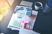 Excel Spreadsheet Stats Graph Analytics Data. Accountant Hands Holding Financial Document Trading In poster